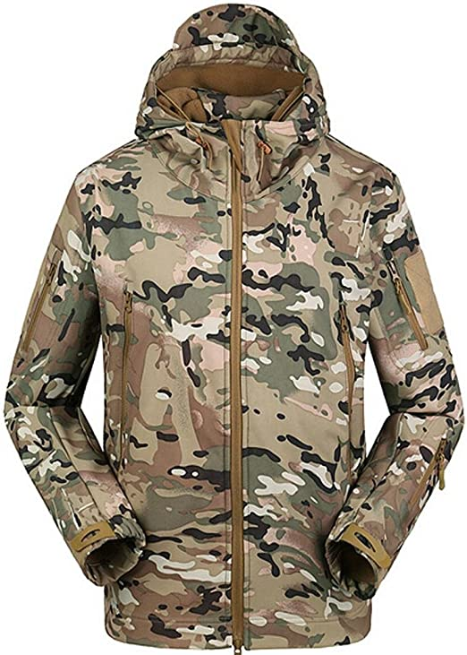 ferty Camouflage Military Men Hooded Jacket, Sharkskin