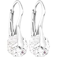 Genuine Crystals from Swarovski® 8mm Briolette Round Earrings. Solid Sterling Silver. Stamped 925. 2.6gr. Total Weight. Outstanding Quality Finish.