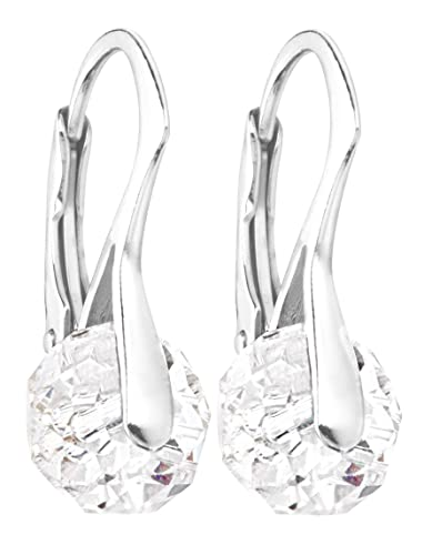 423db374c Ah! Jewellery Genuine 8mm Briolette Round Crystals From Swarovski Earrings.  Solid Sterling Silver.