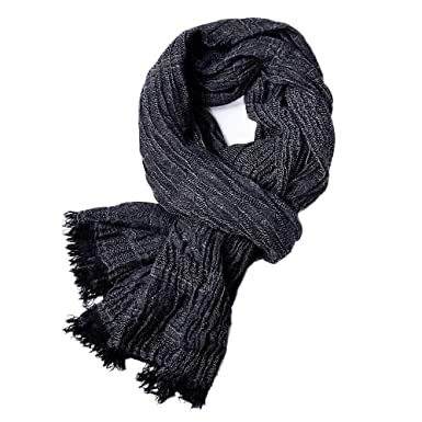 Unisex Fashion Soft Solid Color Long Crinkle Silk-Cotton Neck Scarf