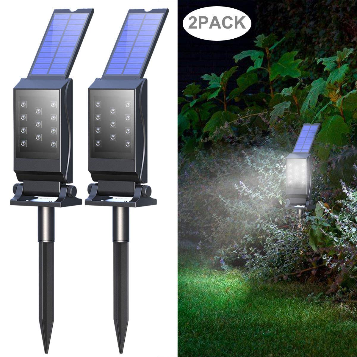 Mulcolor Solar Lights,【Latest】11 LED 2-in-1 Waterproof Solar Powered Garden Light Solar Spotlights Solar Landscape Lights, Auto On/Off for Outdoor Backyard, Driveway, Walkway, Patio,Porch (2 Pack)