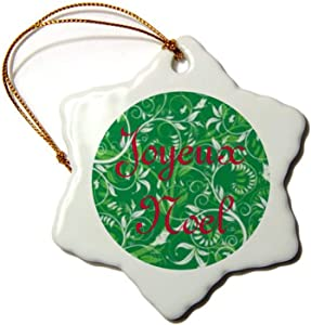 Christmas Ornaments, Joyeux Noel Porcelain Snowflake Ornament Tree Hanging Decor Gift for Families Friends,3 Inch