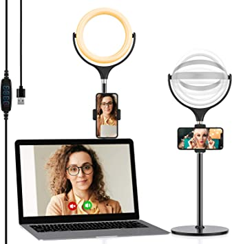 Live Stream//Makeup Webcam Light Stand for Live Stream Video Conference Lighting Stand Kit for Online Class,Teaching Meeting and YouTube Selfie Light Ring with Webcam Mount /& Cell Phone Holder