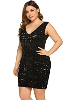 f5ae8e9a32b IN'VOLAND Women's Plus Size Sexy V Neck Sleeveless Sequin Glitter Bodycon  Stretchy Mini Cocktail