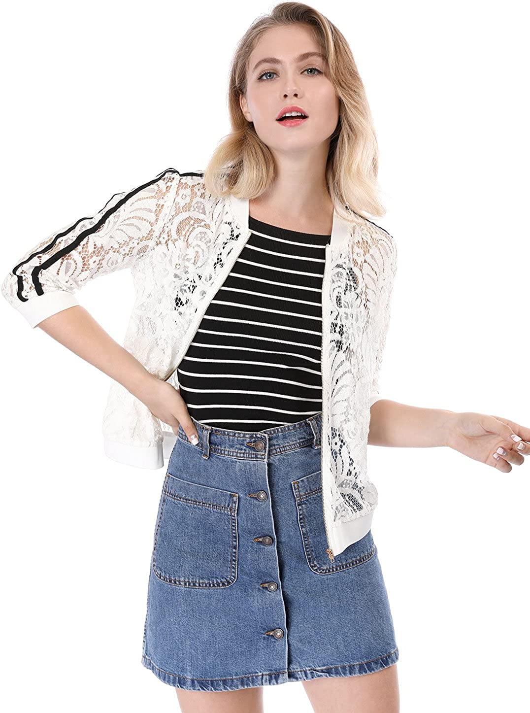 Allegra K Womens Contrast Striped Zip up Lace Bomber Jacket