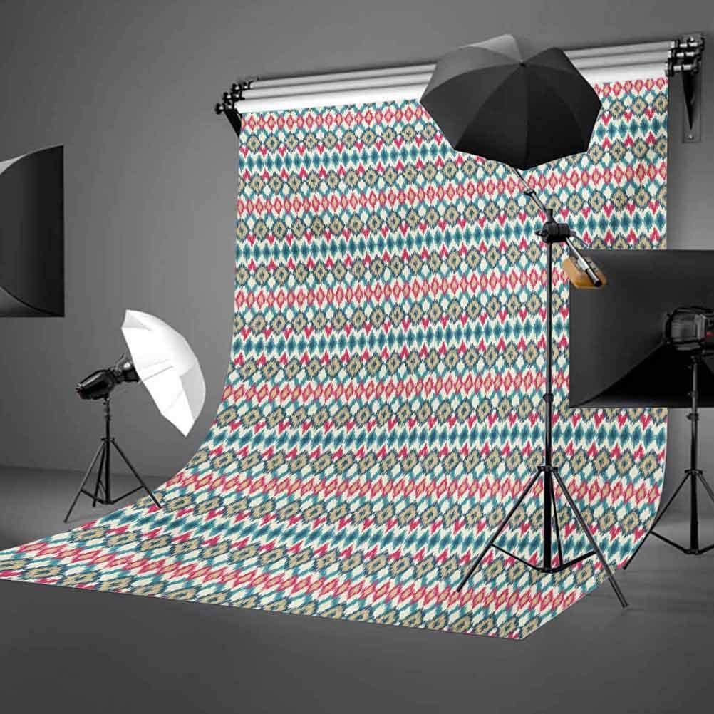 Ikat 10x12 FT Backdrop Photographers,Ikat Pattern with Geometric Shapes Rhombus Squares and Lines Artful Background for Party Home Decor Outdoorsy Theme Vinyl Shoot Props Dark Coral Cream Teal
