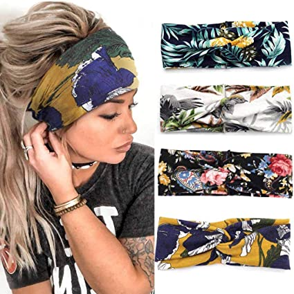 Yean Boho Fascia per capelli da yoga ampia alla moda elastica per donne e ragazze con stampa floreale e turbante confezione da 4