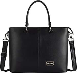 Laptop Bag for Women, IAITU Stylish Handbag Tote Bag Fits 15-15.6 Inch Laptop Multi Compartments Work Bag (Black)