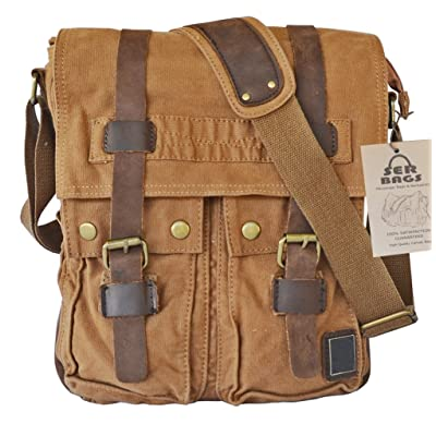 88be98ed65cf0 durable modeling Vintage Military Canvas Messenger Bag With Leather Straps