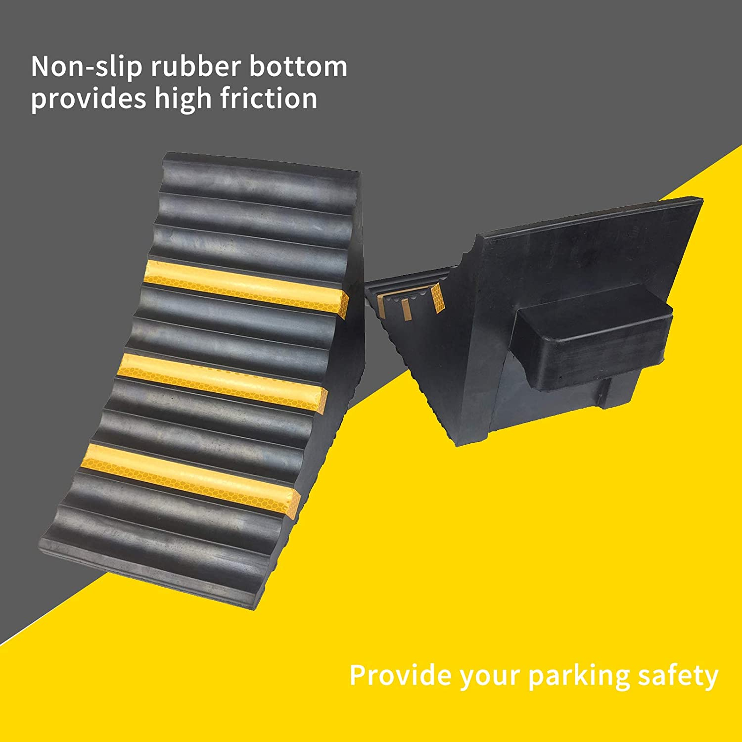 ROBLOCK Rubber Wheel Chocks Heavy Duty Trailer Chock with Yellow Reflective Strip for Truck Camper RV 2 Pack Black 11.6 Length x 6.3 Width x 7.5 Height