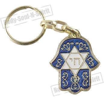 Amazon.com: Chai & Estrella de David azul Hamsa Israel judía ...