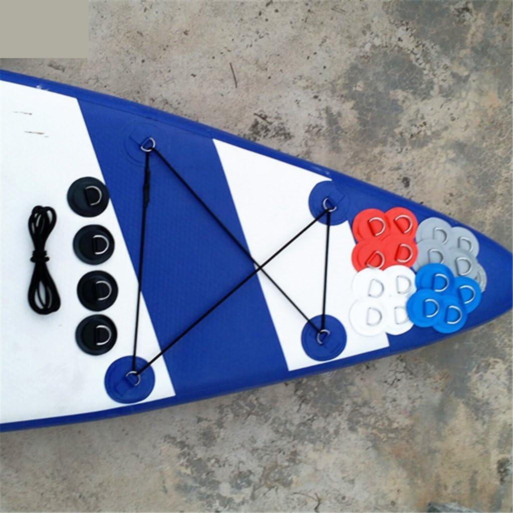 4 Piezas De Acero Inoxidable D Anillo Almohadilla PVC Parche Cubierta del Barco Negro El/ástico Cuerda El/ástica Kit para Stand Up Paddle Board