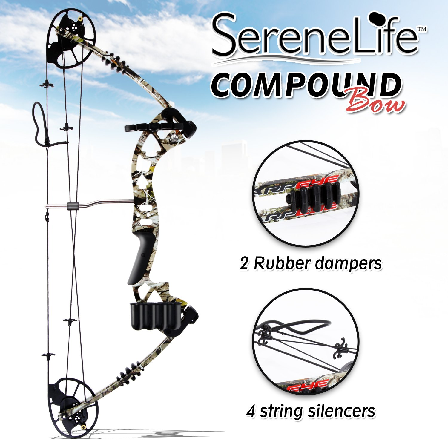 SereneLife Compound Bow, Adjustable Draw Weight 30-70 lbs with Max Speed 320 fps - Right Handed (SLCOMB10) by SereneLife (Image #4)