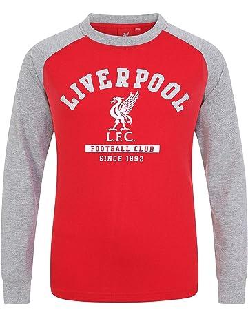 fdb40416d Liverpool FC Official Football Gift Kids Crest Long Sleeve Raglan T-Shirt  Grey