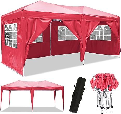 3 x 6 m Cenador, Impermeable Pop Up Cenador para Patio con Paneles Laterales y Bolsa de Almacenamiento para la Boda al Aire Libre Fiesta en el jardín ...
