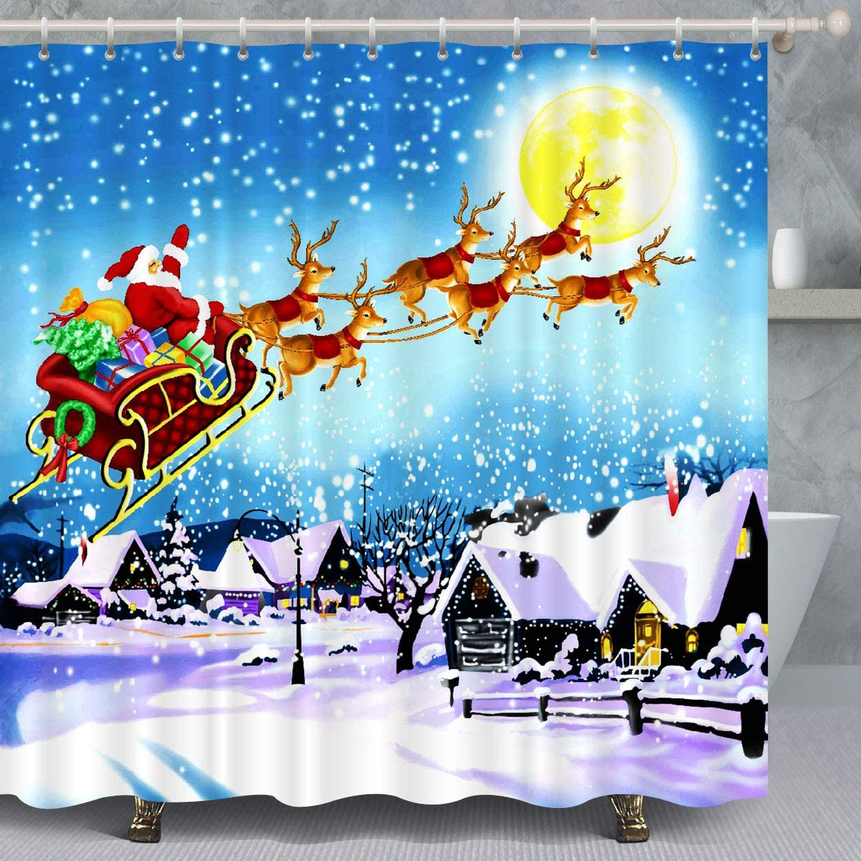 VANCAR Xmas Merry Christmas Shower Curtain Santa Claus Reindeer Sled Gifts Christmas Party Decoration Shower Curtain for Bathroom Decoration Home Decor 72