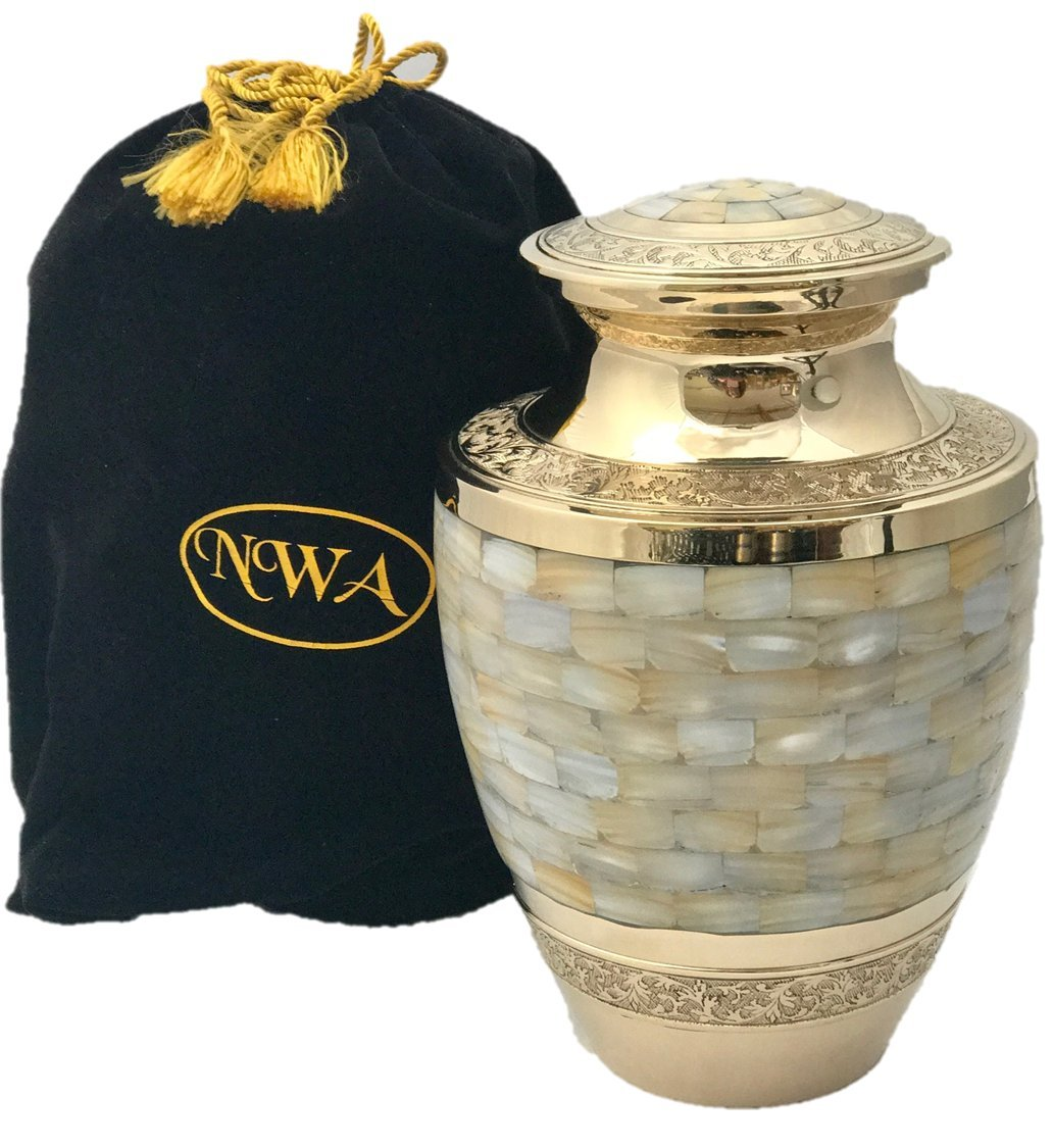 Funeral Cremation Urn, Adult Size Solid Brass Mother Of Pearl Memorial Urn With Velvet Bag by NWA