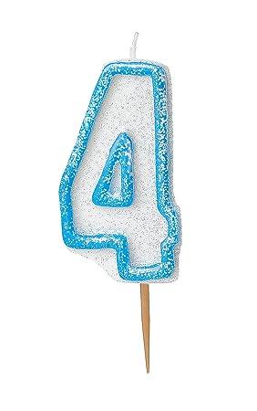 Unique Party- Vela de cumpleaños número 4, Color azul brillante (37924)