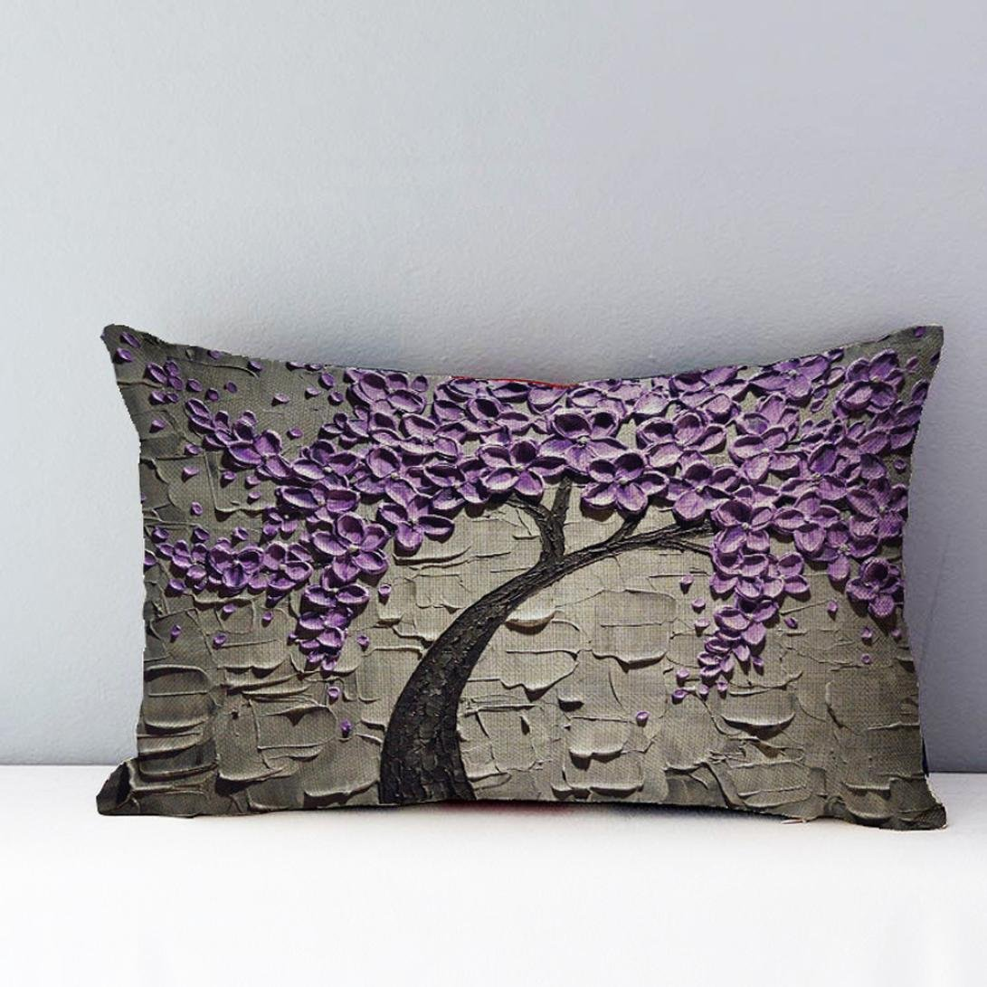Pillow Cases,Lavany Pillow Covers Rectangle Flower Tree Pillowcases Cushion Home Car Sofa Decorative New A