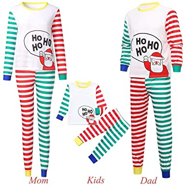 Family Matching Pajamas Sets Christmas Pajamas Outfit Cartoon Santa Holiday Clothes  PJ Sets Mom Dad Kids 2cfd03c86