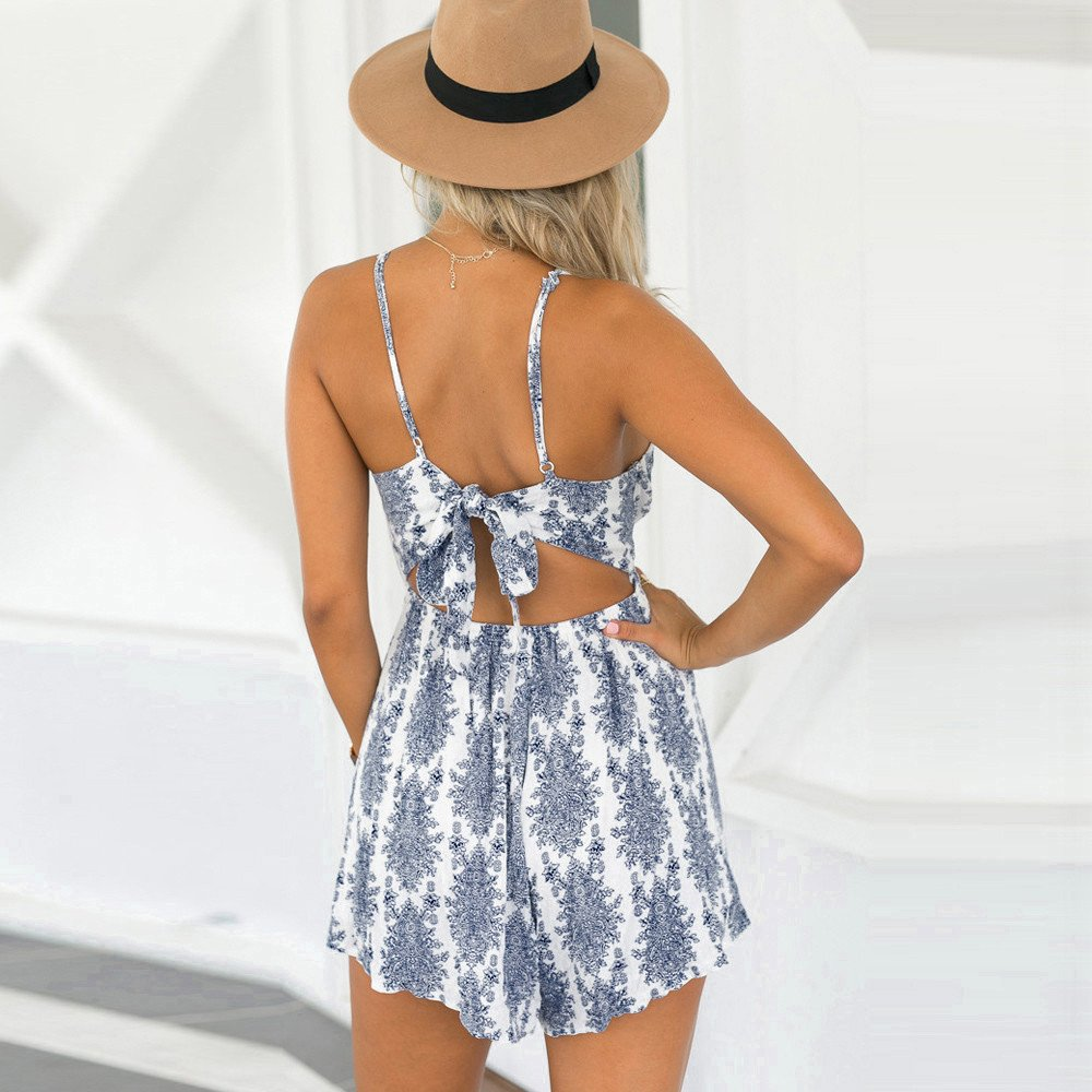 cd48cad614 Amazon.com  Handyulong Women Rompers Casual Print Lace Up Strap Jumpsuits  Shorts Playsuit for Teen Girls  Clothing