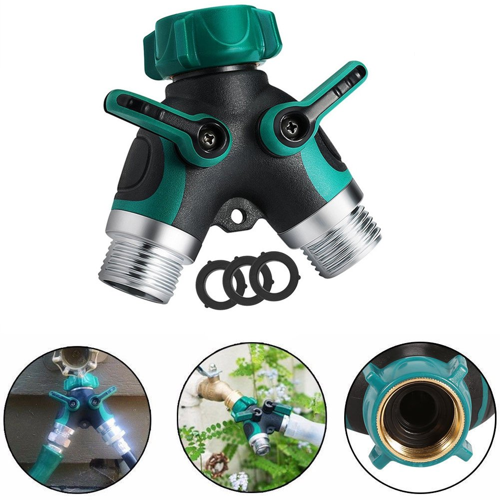 2 Way Y Hose Splitter, Northbear Garden Hose Connector Valves Water Pipe Connector with Easy Grip