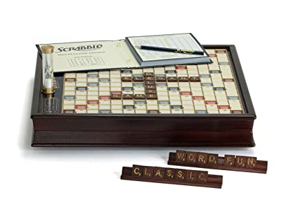 Amazoncom Scrabble Deluxe Wooden Edition With Rotating Game Board