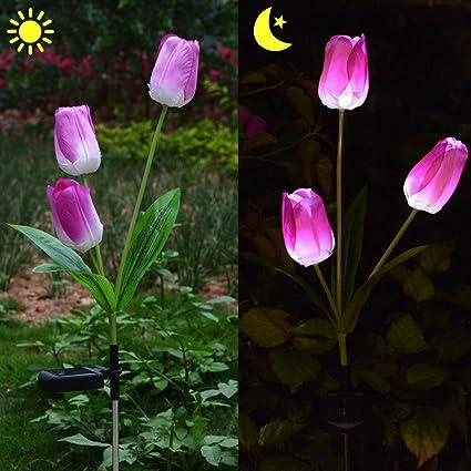 Garden Tulip Flower Shape Decor LED Solar Powered Lights Standing Outdoor I M4X6