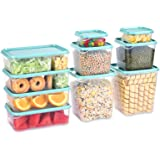 TUSEASY Food Storage Containers Set with Lids Airtight, BPA Free Kitchen Plastic Freezer Bowls for Meal Lunch Large Small Med