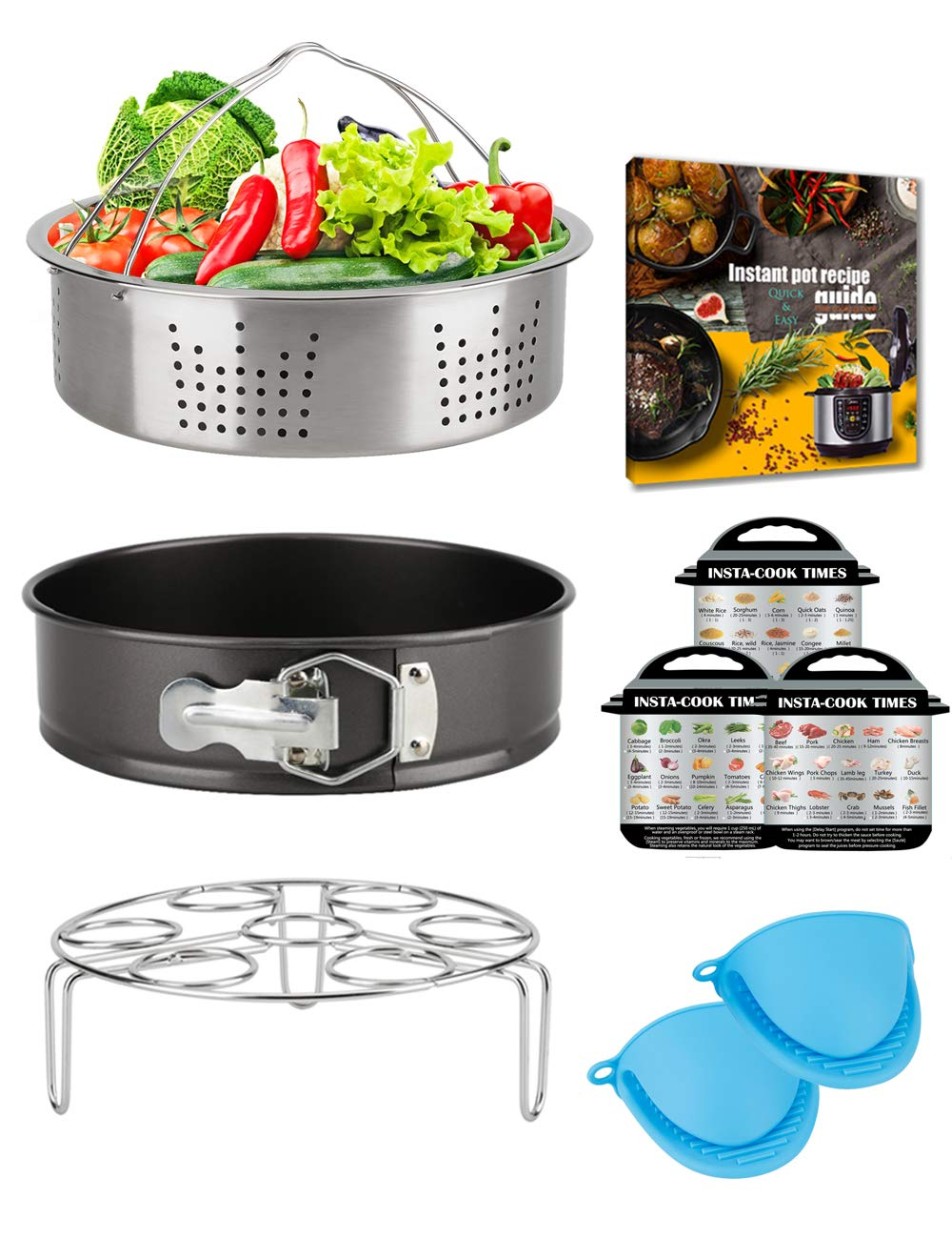Pressure Cooker Accessories 6 Quart 8 Qt for Instant Pot, Steamer Basket Springform Pan Egg Trivet Silicone Mitts Cookbook Magnets Receipt, SS304 Stainless, Compatible with Instapot Duo 6 Qt 8 Quart