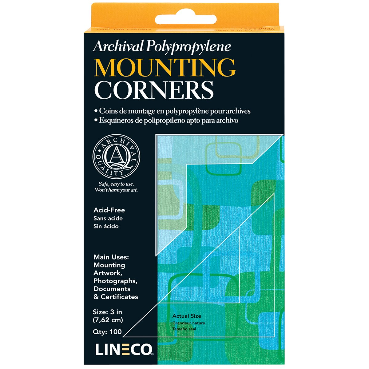 Lineco Self-Adhesive Polypropylene Mounting Corners, Full View, 3 inches, Package of 100 (L533-0037)