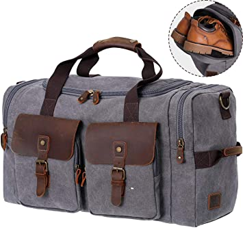 WOWBOX Duffel Bag Weekender Bag for Men and Women Genuine Leather Canvas  Travel Overnight Carry on Bag with Shoes Compartment 84cfdeb851700