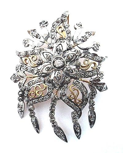 747c22b7e0f Amazon.com  Rose Cut Round Natural Diamond Brooch Oxidized   Gold ...