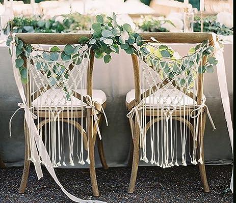 Amazon wedding chair decorations bride and groom chair signs wedding chair decorations bride and groom chair signs macrame wall hanging decoration boho wedding decor junglespirit Images