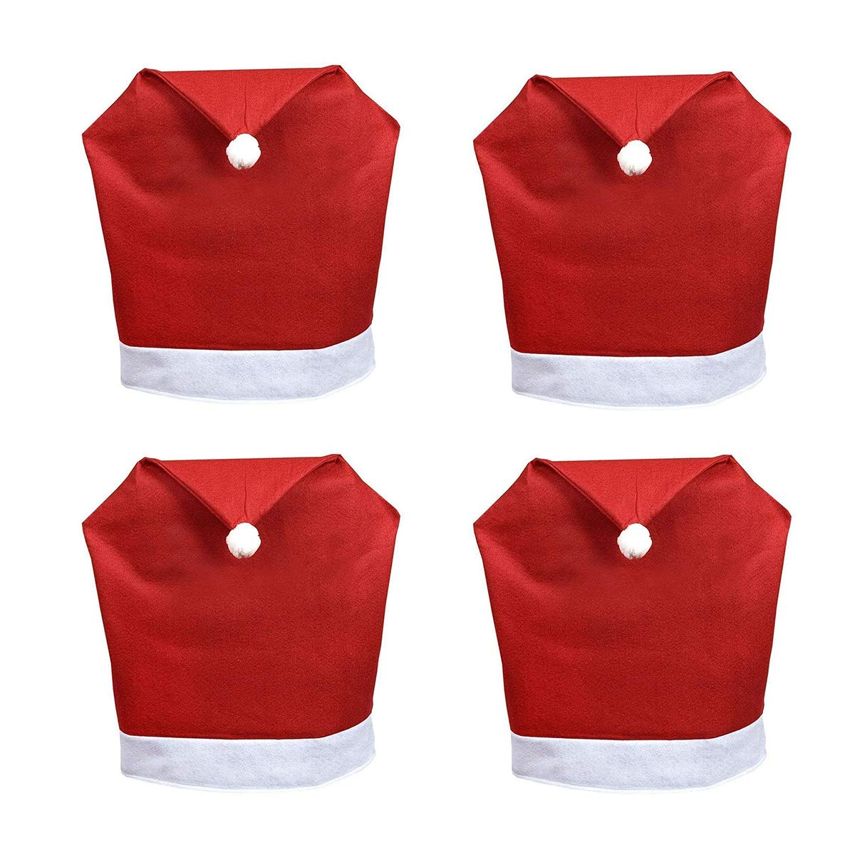 DH 4 Pcs Christmas Red Santa Hat Chair Back Covers for Xmas Party Christmas Kitchen Dining Room Dinner Table Decoration