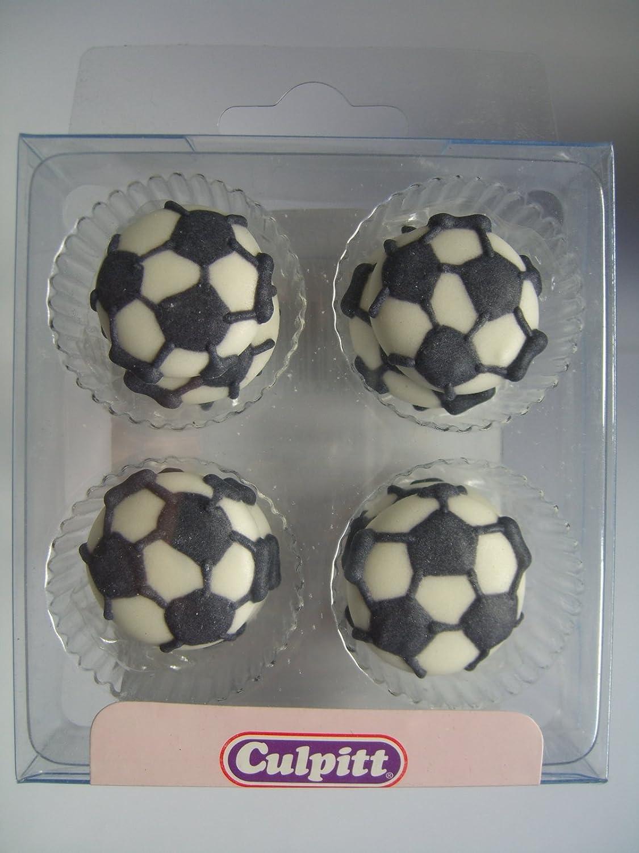 12 FOOTBALLS Sugar Cake Decorations (Pipings){Cupcake Toppers} Culpitt