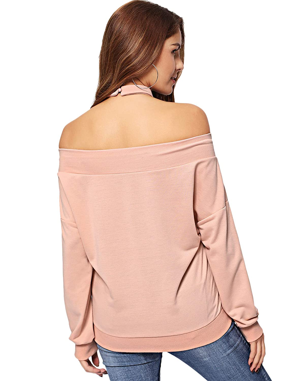 Romwe Womens Off Shoulder Letter Print Long Sleeve Pullover Pullover Crop Sweatshirt