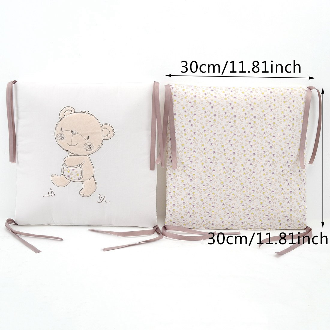 Hengfey Cotton Breathable Baby Crib Bumpers Beige 6 PCS by FREAHAP R (Image #2)