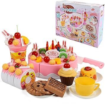 75 pcs papel juego juguete juguetes de cocina rosa tarta de ...