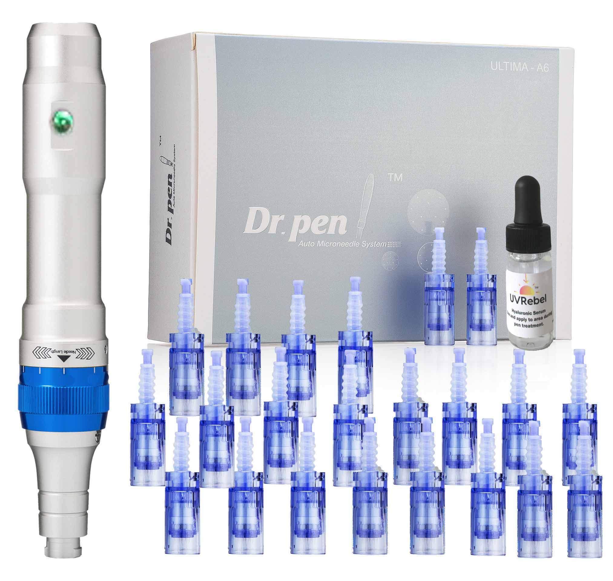 Dr. pen Ultima A6 Microneedling pen 24 Pcs Pin & Nano cartridges, 10 x 36-pin, 10 x Nano, 4 x 12-pin by Dr. Pen