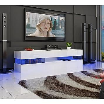 Mueble de salón LED moderno, blanco, con 2 cajones para televisor ...