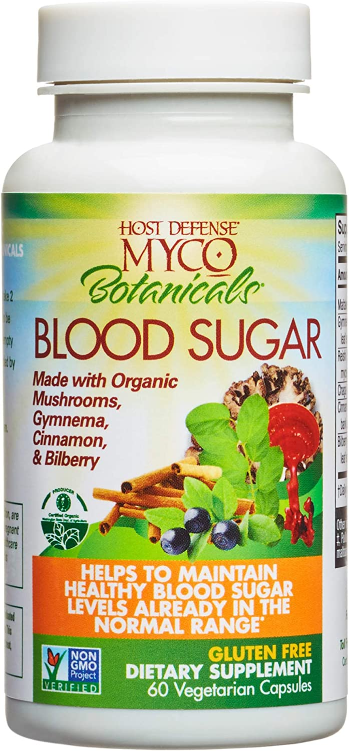 Host Defense, MycoBotanicals Blood Sugar, Maintaining Blood Sugar Levels Already Within Normal Range, Daily Mushrooms and Herb Supplement, Vegan, Organic, 60 Capsules (30 Servings)