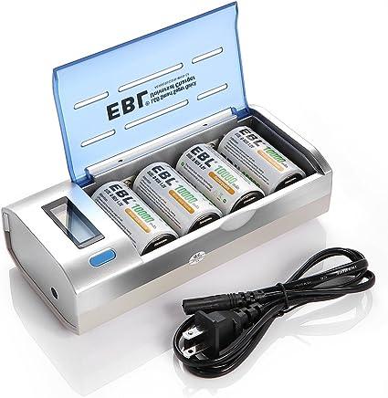 Amazon.com: EBL 906 LCD Universal C D AA AAA 9V Cargador de ...