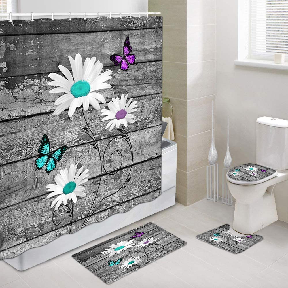 Teal Butterflies with White Daisy Flowers Bathroom Shower Curtain and Rug Set, Butterfly on Modern Farm Floral Daisies Flower on Rustic Gray Barn Wooden Shower Curtain,Toilet Cover Bath Mats, 4PCS
