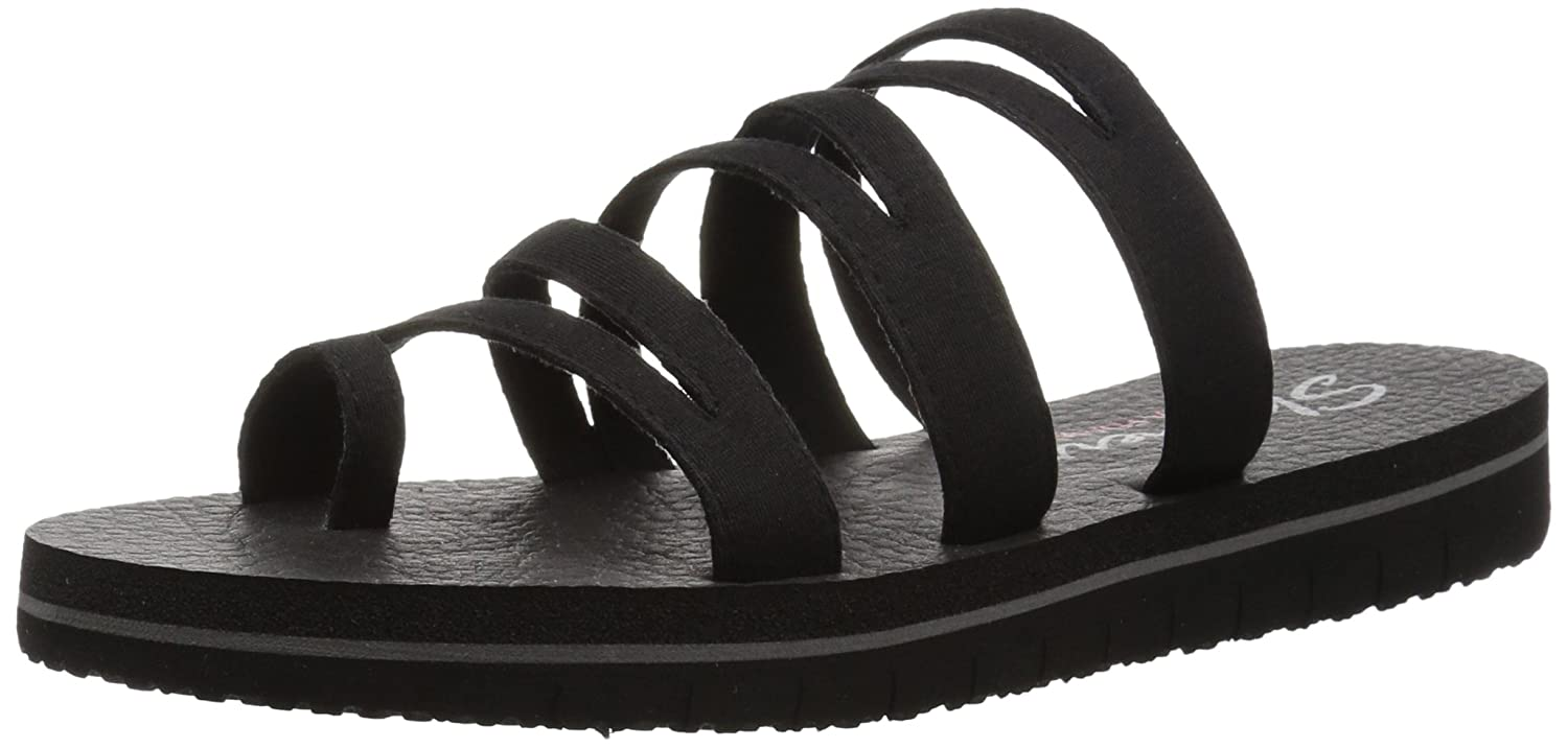 Skechers Womens ZENFLEX-Camp Zen-Multi-Strap Toe Loop Flip Flop Black, 6 M US