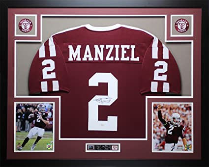 d64c144e313 Johnny Manziel Autographed Maroon Aggies Jersey - Beautifully Matted and  Framed - Hand Signed By Johnny