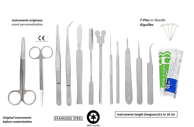 Estuche de disección con 12 instrumentos inoxidables para estudiante ...