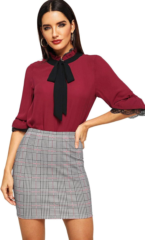 SheIn Womens Basic Stretch Plaid Mini Bodycon Pencil Skirt