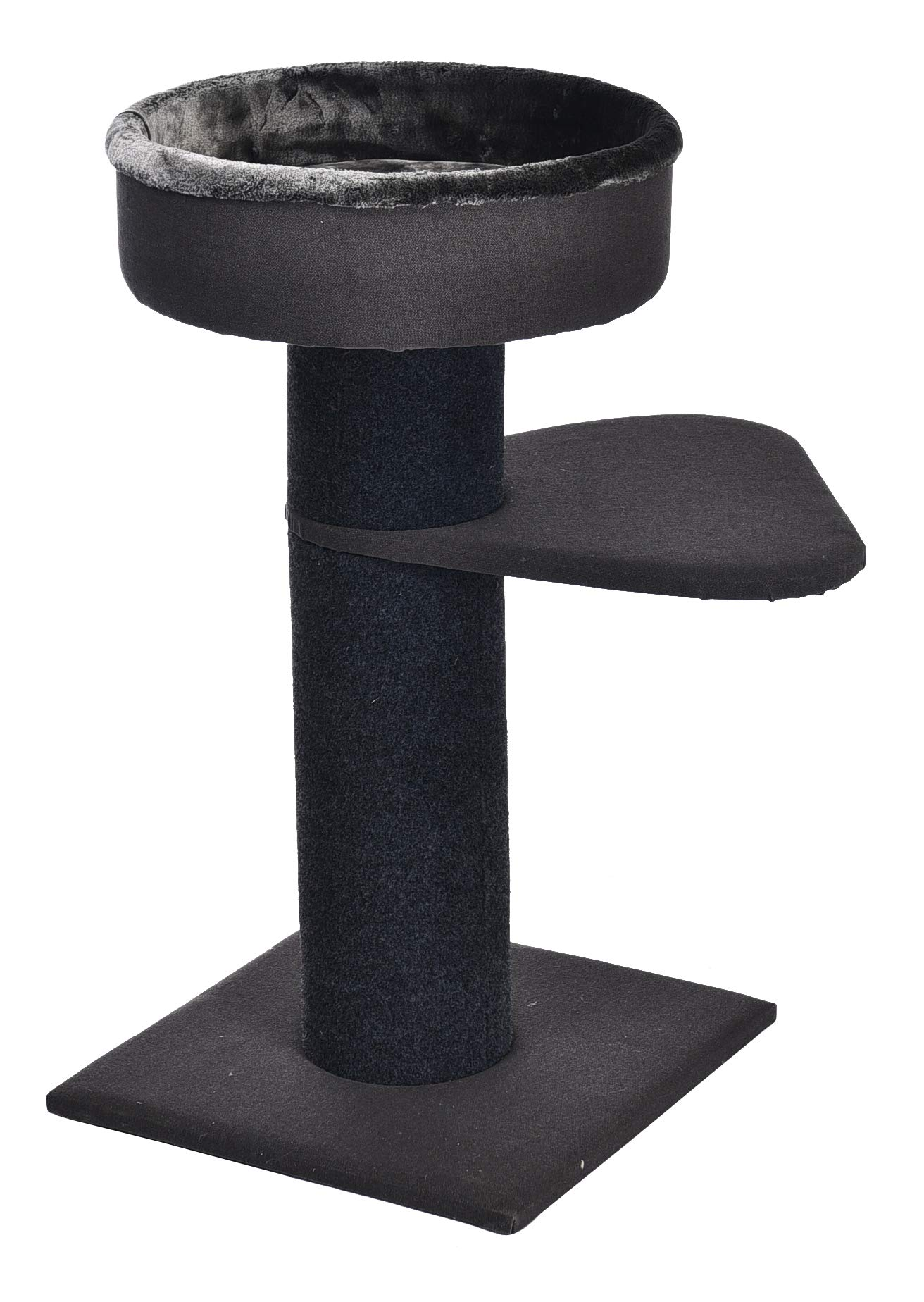 AmazonBasics Two Tier Cat Condo Tree Tower With Premium Hard-Side Bedding - 19 x 19 x 34 Inches, Black by AmazonBasics