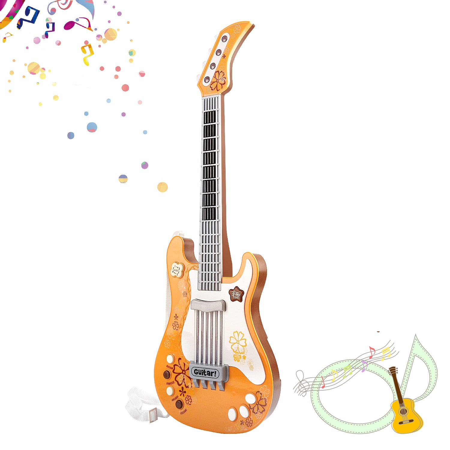 M SANMERSEN Toys Guitar for Kids, Party Favor Guitar with Vibrant Sounds Gifts for Boys Girls Age 3-6 Toys for Children Girls Boys Xmas Gifts